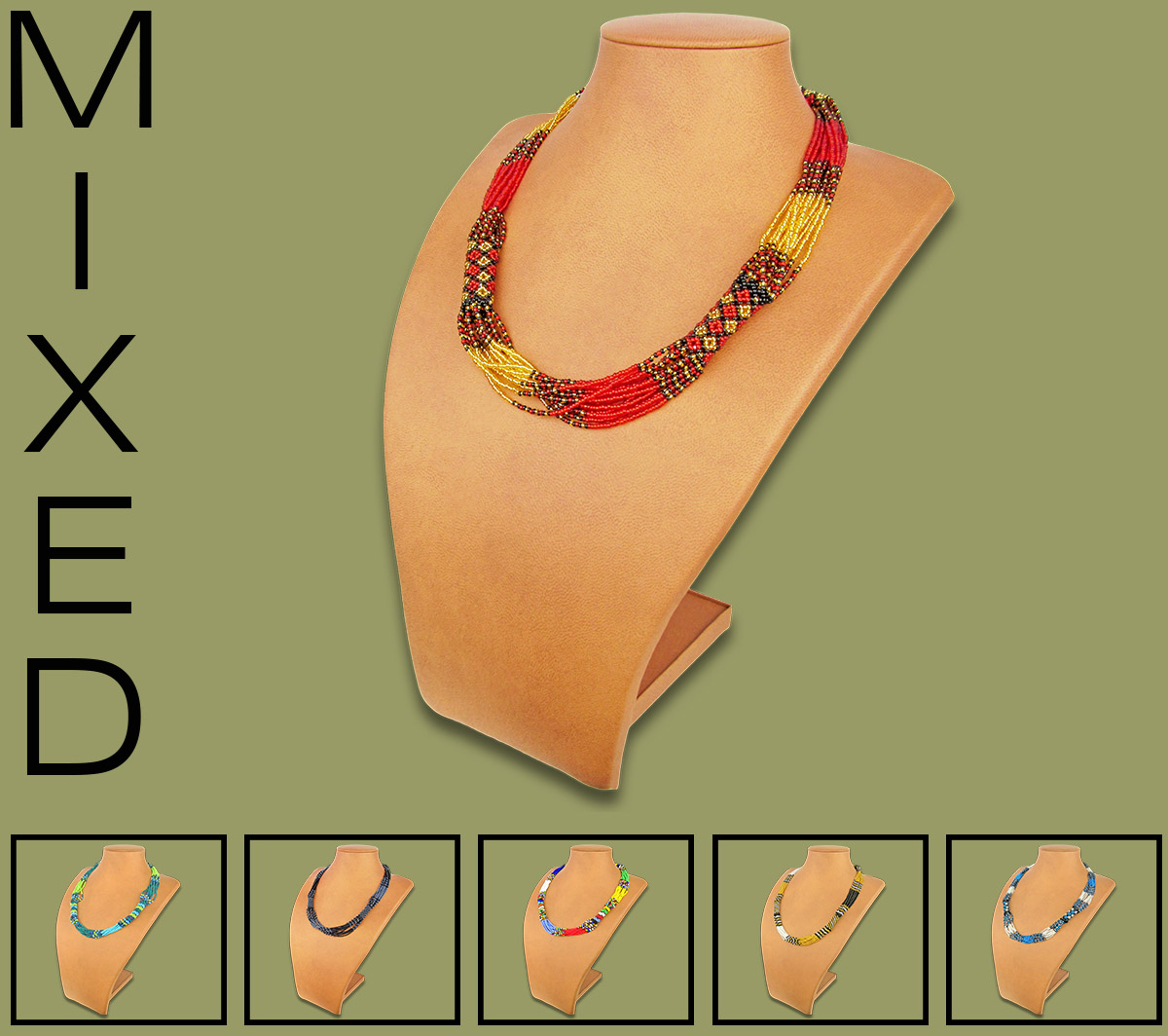 African Beaded Necklaces Mvovo Mixed