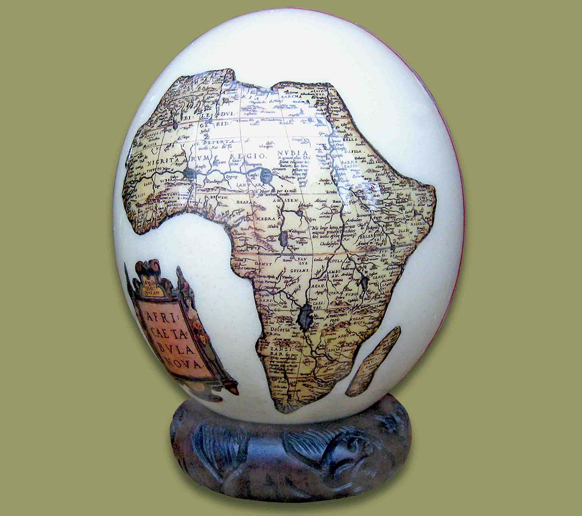 Ostrich Eggs And Stands Ostrich Egg Decoupage Map Africa 1
