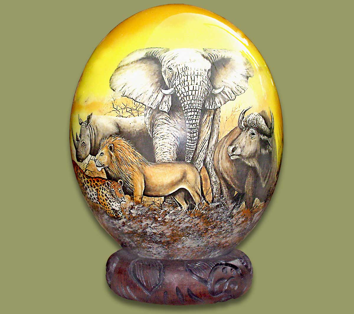 Ostrich Eggs And Stands Ostrich Egg Decoupage Big Five 1