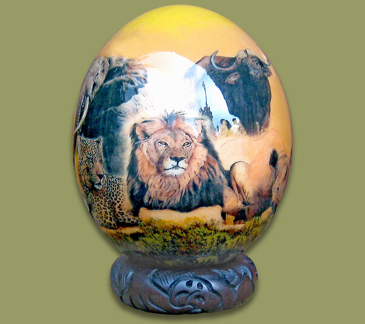 Ostrich Egg Decoupage Big Five.2
