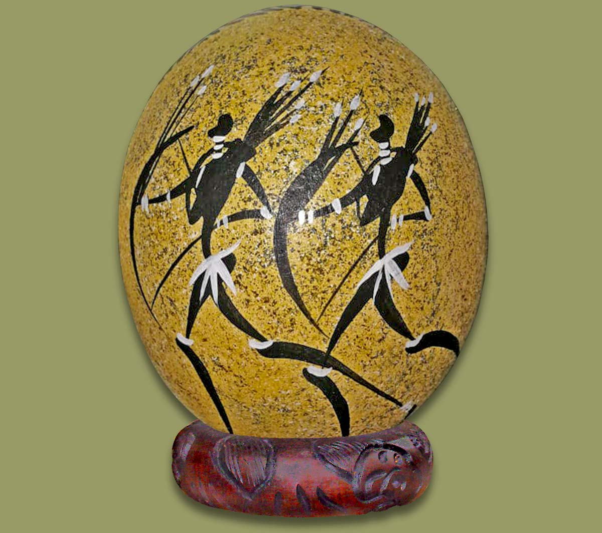 Ostrich Egg Hand Painted Bushman 1