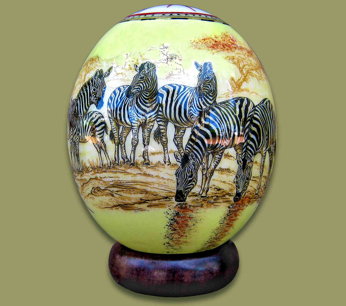 Ostrich Eggs And Stands Ostrich Egg Decoupage Zebra 1