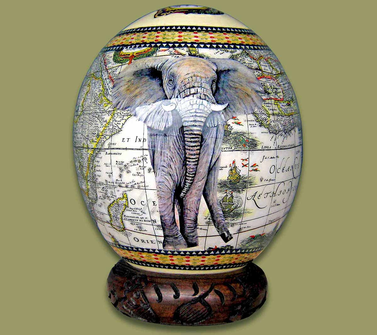 Ostrich Eggs And Stands Ostrich Egg Decoupage Elephant 1