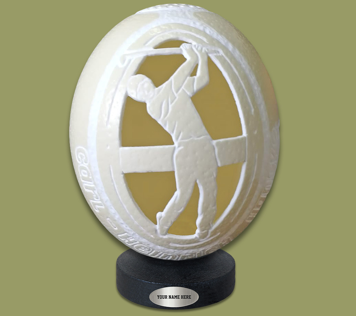 Ostrich Egg Carved Golfer