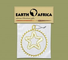 Pack X 1 Christmas Circle Star Gold White