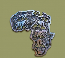 Africa Map Ebony Wood Medium