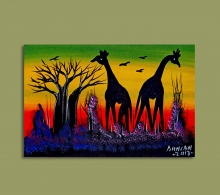 African Art Miniature Originals Giraffe.1