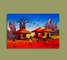 African Art Miniature Originals Huts.1