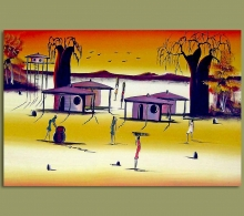 African Art Sunrise On African Village.1