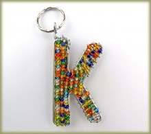 Beaded Key Ring Alphabet Letter K
