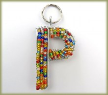 Beaded Key Ring Alphabet Letter P