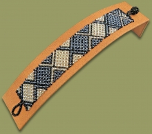 Beaded Bracelet Flat Black Silver Metallic