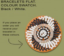 African Beaded Bracelet Flat Black White