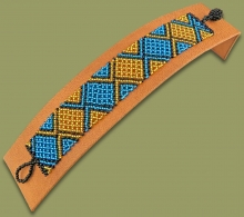 Beaded Bracelet Flat Blue Gold Black