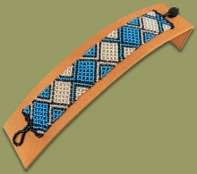 Beaded Bracelet Flat Blue Silver Black