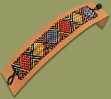 Beaded Bracelet Flat Brown Black Gold Metallic