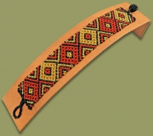 Beaded Bracelet Flat Brown Gold Black
