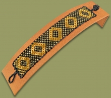 Beaded Bracelet Flat Gold Black
