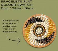 Beaded Bracelet Flat Gold Silver Black