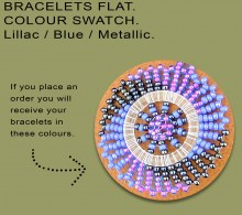 African Beaded Bracelet Flat Lillac Blue Metallic