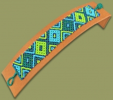 Beaded Bracelet Flat Lime Navy blue Jade