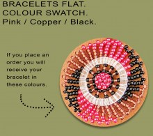 African Beaded Bracelet Flat Pink Copper Black