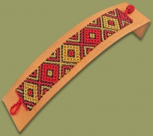 Beaded Bracelet Flat Red Gold Black