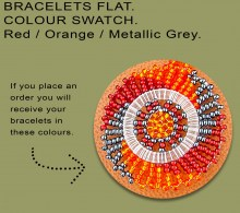 African Beaded Bracelet Flat Red Orange Metallic