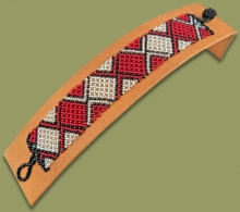 Beaded Bracelet Flat Red Silver Black