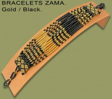 African Beaded Bracelets Zama Gold Black