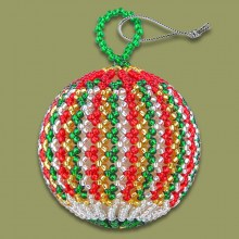African Beaded Christmas Balls Red Silver Gold Green
