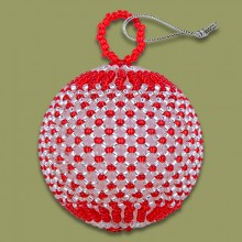 African Beaded Christmas Balls Red Silver