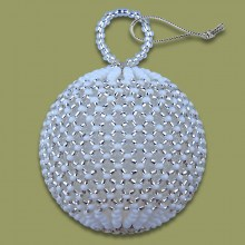 African Beaded Christmas Balls Silver White