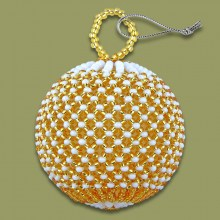 African Beaded Christmas Balls Gold White