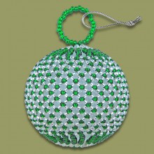African Beaded Christmas Balls Green Silver