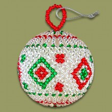 African Beaded Christmas Balls Red Silver Green