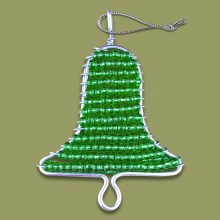 African Beaded Christmas Bell Green