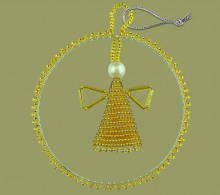 African Beaded Christmas Circle Angel Gold