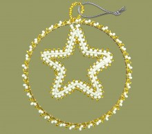 African Beaded Christmas Circle Star Gold White