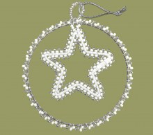 African Beaded Christmas Circle Star Silver White