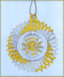 African Beaded Christmas Snowflake Silver Gold