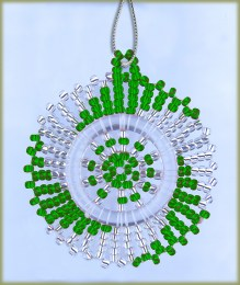 African Beaded Christmas Snowflake Silver Green