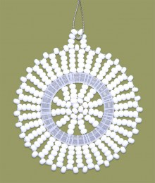 African Beaded Christmas Snowflake White