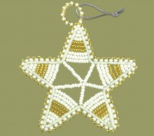African Beaded Christmas Star.1 Gold White