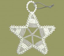 African Beaded Christmas Star.1 Silver White