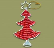 African Beaded Christmas Tree.2 Red