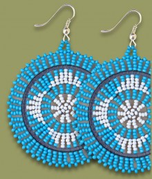 Large Circle Earrings Xhosa Blue White