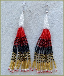 African Beaded Earrings Lukimbi Red Black Silver Gold