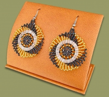 Small Circle Earrings Gold Black