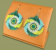 Small Circle Earrings Lime Navy Blue Jade